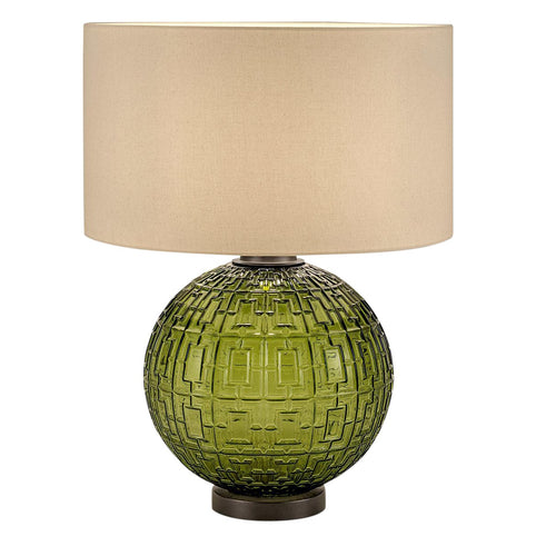 Olive glass with black bronze table lamp and shade