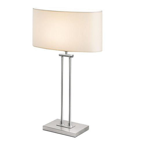 Plaza brushed nickel table lamp with shade
