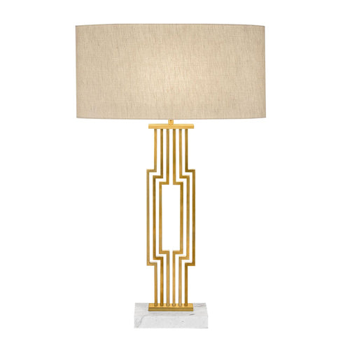 Provence brushed brass table lamp with shade