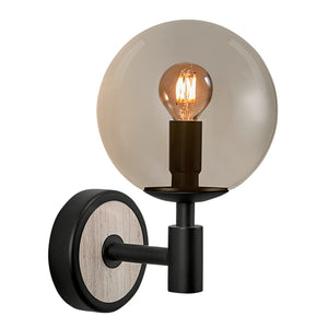 Lunar wall light - satin black and smokey glass