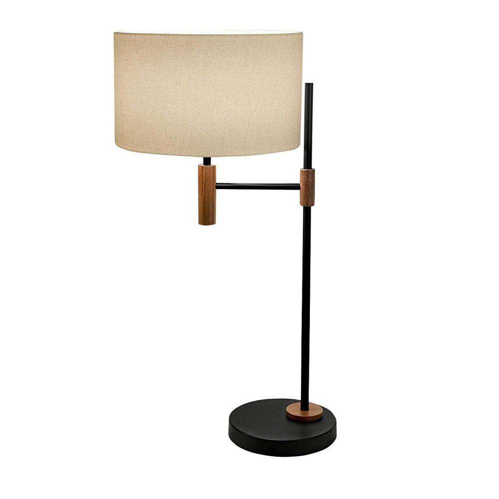 Satin black and walnut table lamp