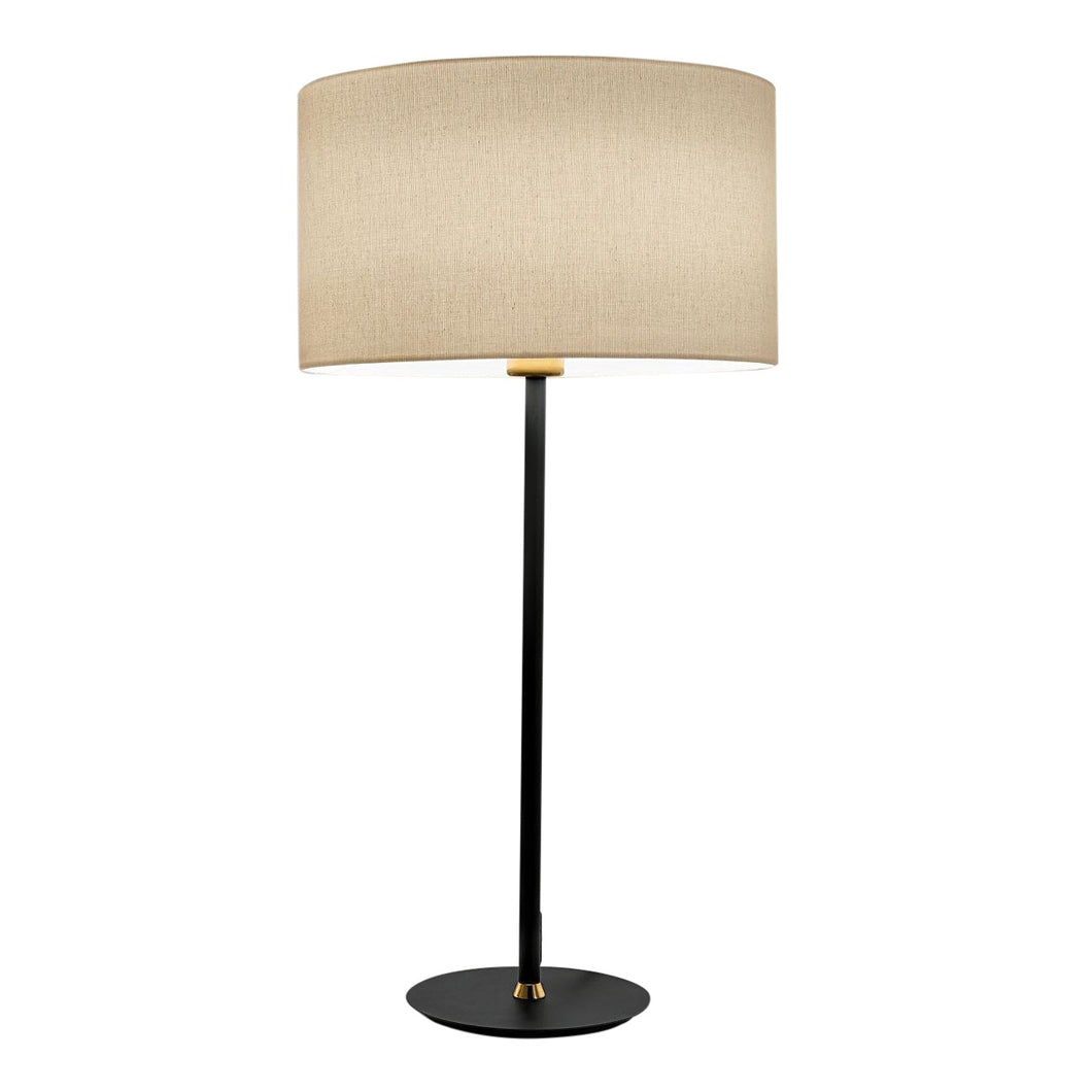 Satin black with brushed brass Avenue table lamp with shade