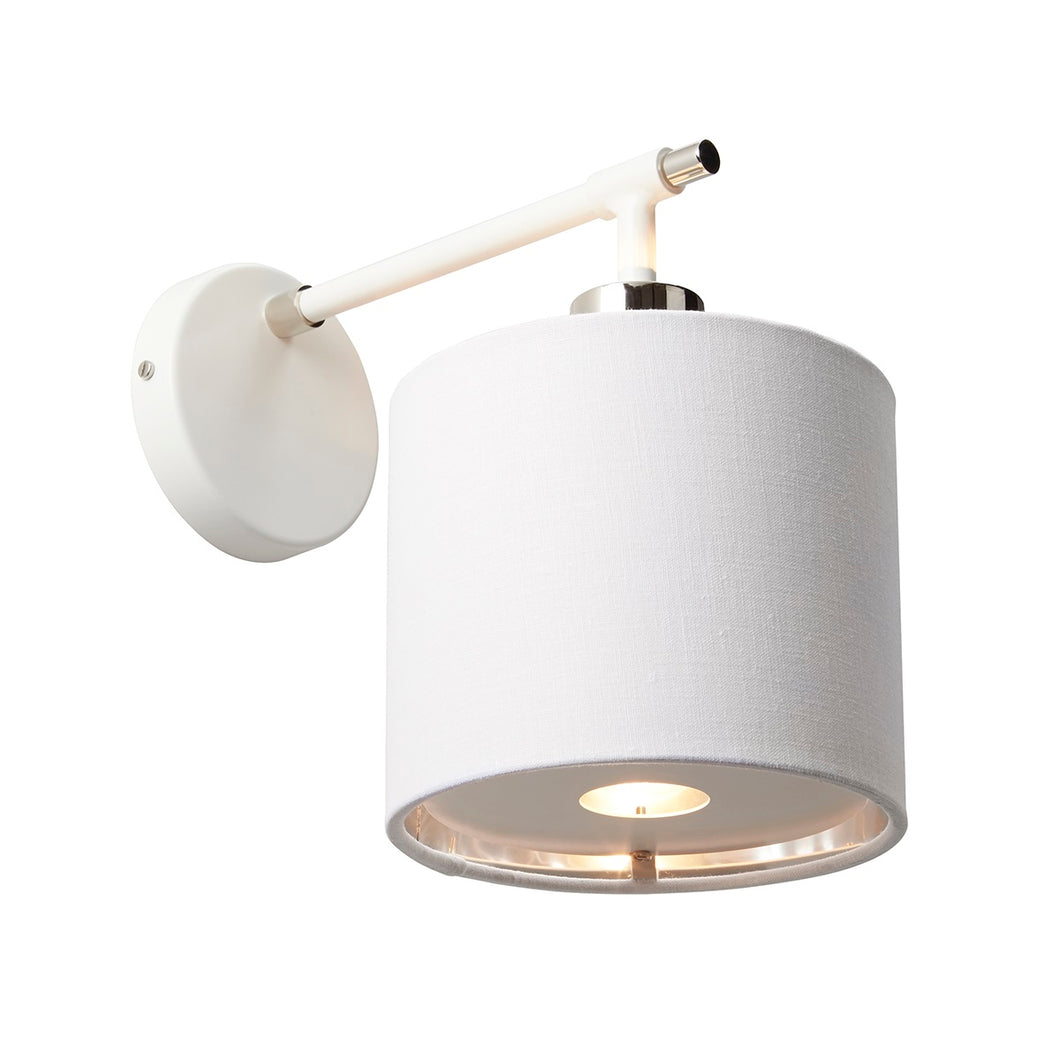 Polished Nickel/ White Wall Light
