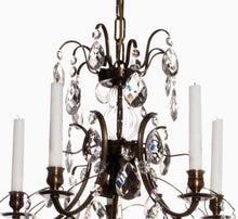 Baroque Chandelier - Dark Brass 5 Arm Baroque Style Chandelier With Clear Crystals
