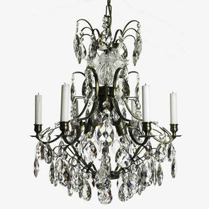 Baroque Chandelier - Dark Brass 6 Arm Baroque Style Chandelier With Almond Crystals
