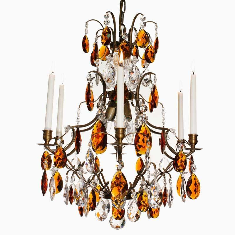 Baroque Chandelier - Dark Brass 6 Arm Baroque Style Chandelier With Coloured Crystals