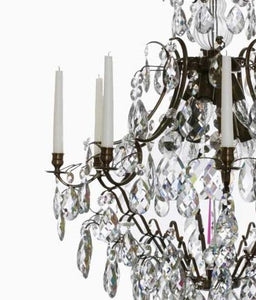 Baroque Chandelier - Dark Brass 8 Arm Baroque Style Chandelier With Almond Crystals