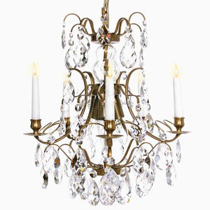 Baroque Chandelier - Light Brass 5 Arm Baroque Style Chandelier With Clear Crystals