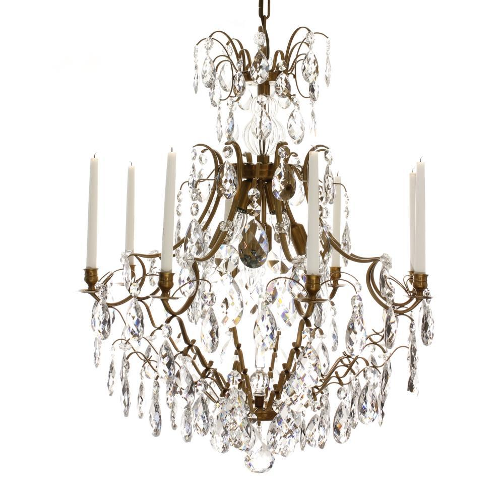 Baroque Chandelier - Light Brass 8 Arm Baroque Style Chandelier With Almond Crystals