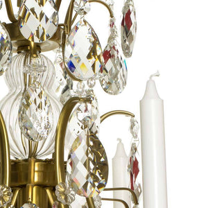 Baroque Chandelier - Light Brass Plated 6 Arm Baroque Style Chandelier With Almond Crystals