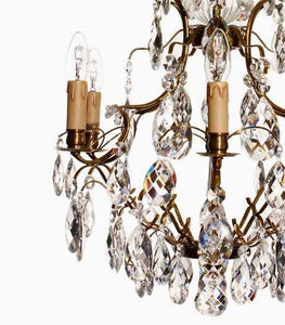 Baroque Chandelier - Light Brass Plated 6 Arm Baroque Style Chandelier With Almond Crystals And 6 Electric Lights
