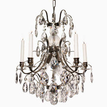 Baroque Chandelier - Nickel 5 Arm Baroque Style Chandelier With Clear Crystals