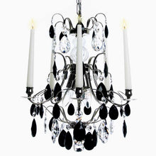 Baroque Chandelier - Nickel 5 Arm Baroque Style Chandelier With Coloured Crystals