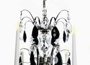 Baroque Chandelier - Nickel 6 Arm Baroque Style Chandelier With Black Crystals