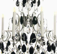 Baroque Chandelier - Nickel 8 Arm Baroque Style Chandelier With Almond Black Crystals