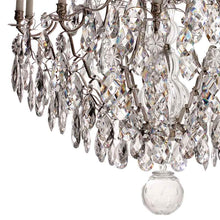 Baroque Chandelier - Nickel Plated 10 Arm Baroque Style Chandelier With Almond Crystals