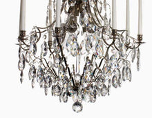Baroque Chandelier - Nickel Plated Large 8 Arm Baroque Style Chandelier With Almond Crystals