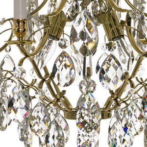 Baroque Chandelier - Polished Brass 6 Arm Baroque Style Chandelier With Almond Crystals
