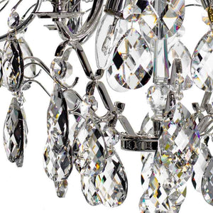 Baroque Chandelier - Silver Plated 6 Arm Baroque Style Chandelier With Almond Crystals