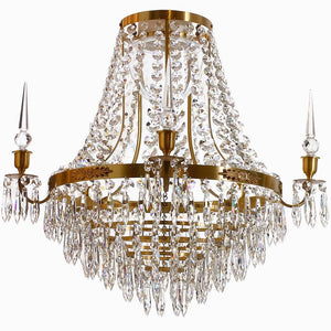 Bathroom Chandeliers - Large Light Brass Bathroom Chandelier With Crystals