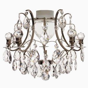 Bathroom Chandeliers - Nickel Bathroom Chandelier With Crystal Balls And Crystal Almonds