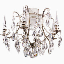 Bathroom Chandeliers - Nickel Bathroom Chandelier With Crystal Spears And Crystal Almonds