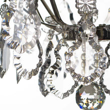 Bathroom Chandeliers - Nickel Bathroom Chandelier With Crystal Spears And Crystal Pendeloques