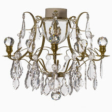 Bathroom Chandeliers - Polished Brass Bathroom Chandelier With Crystal Balls And Pendeloques