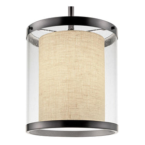 Black bronze light with an outer seed glass shade