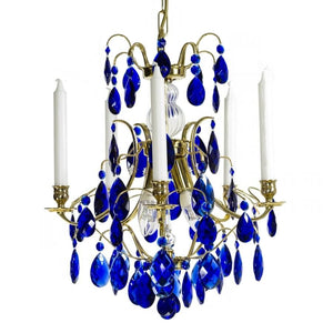 Baroque style chandelier with cobalt blue almond shaped crystals