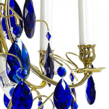 Baroque Crystal Chandelier: with cobalt blue almond shaped crystals