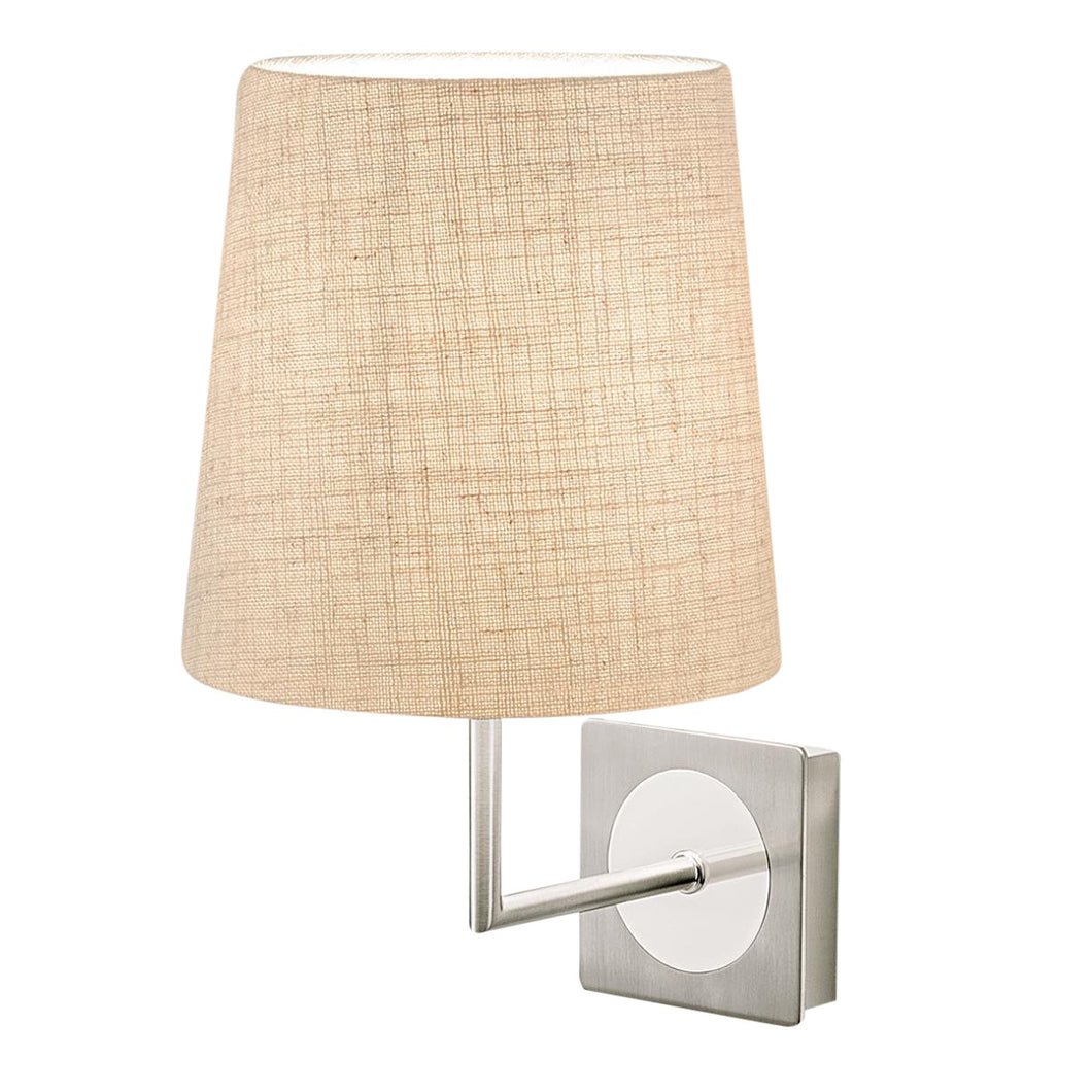 Brushed nickel and polished chrome wall light with shade