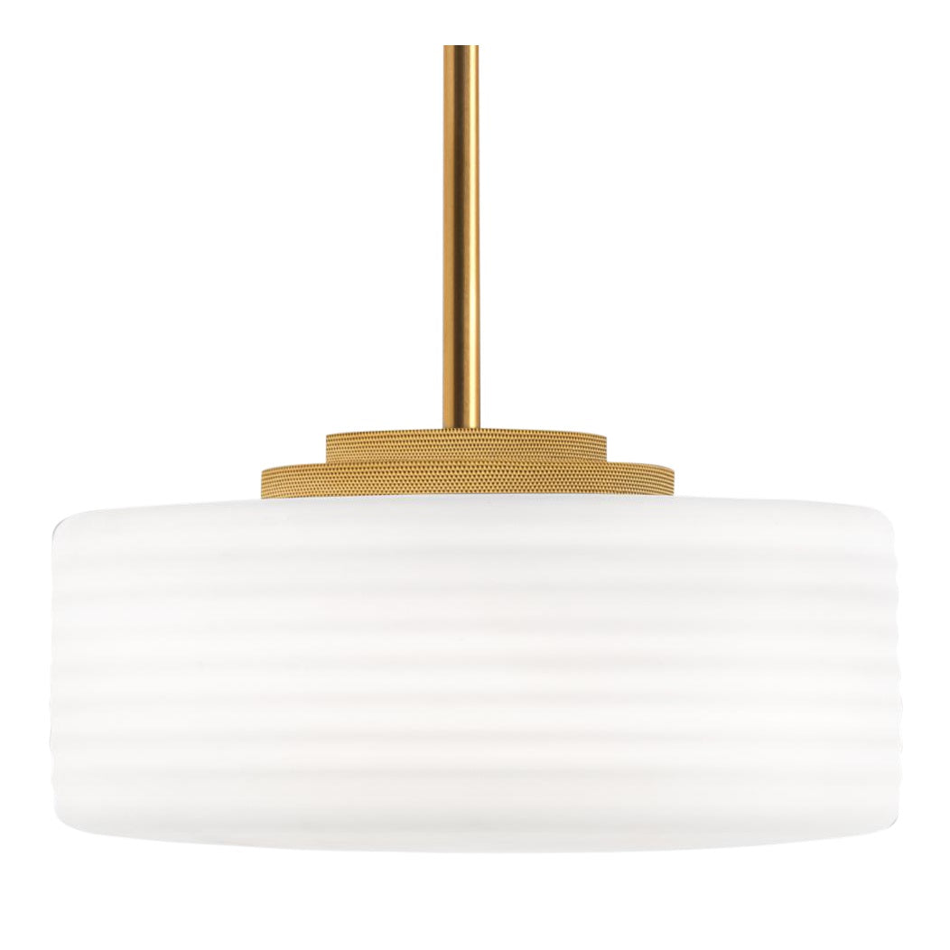 Brushed brass light with frosted opal glass
