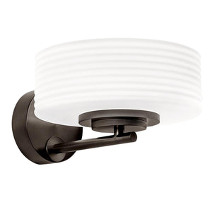 Capri wall light in black bronze with opal glass