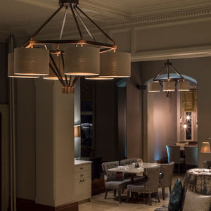 Diamond frame pendant light - in situ