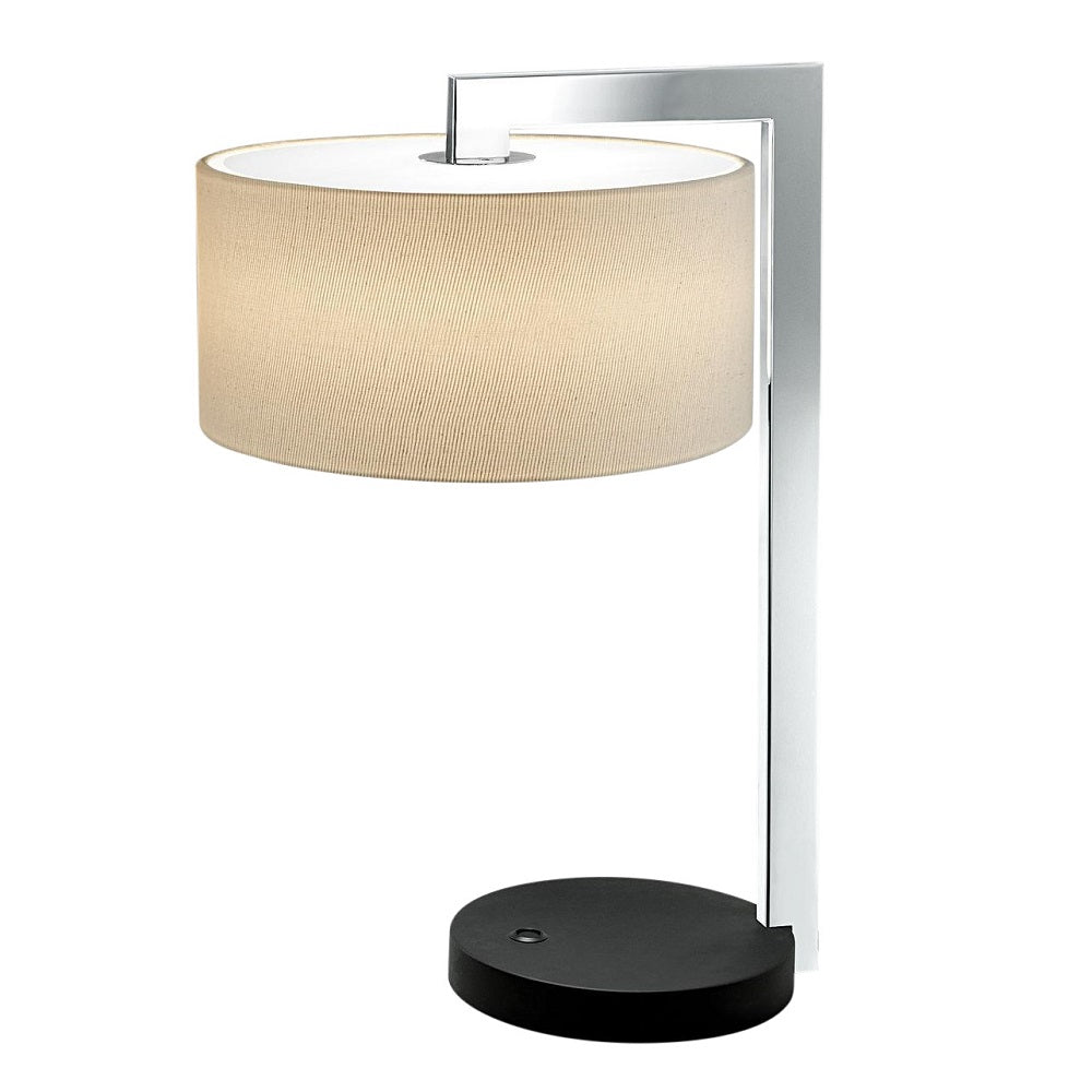 Chicago satin black with polished chrome table lamp with shade