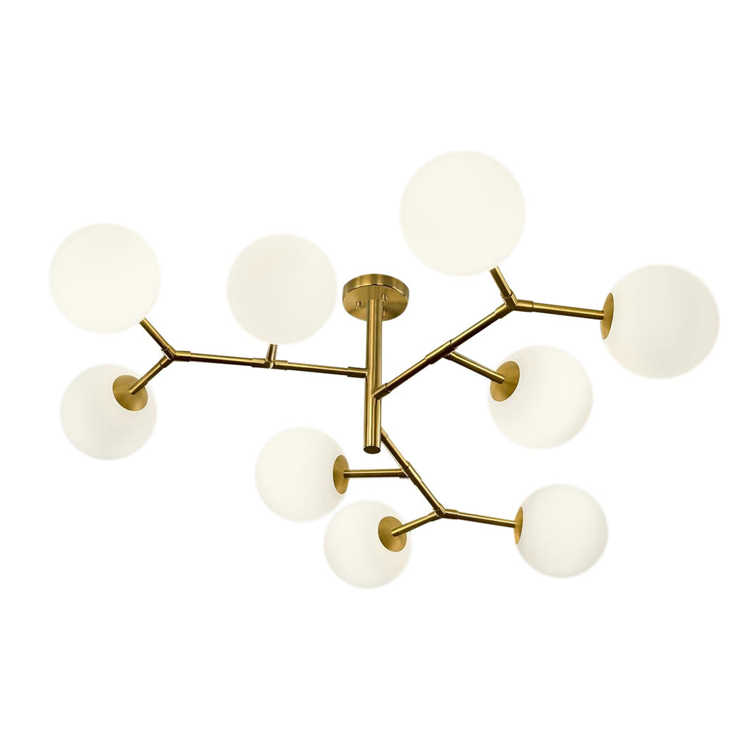 9 arm constellation brushed brass pendant light