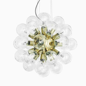 Contemporary Chandelier - Contemporary Brass Chandelier With Clear Globes: 62cm X 62cm X62cm