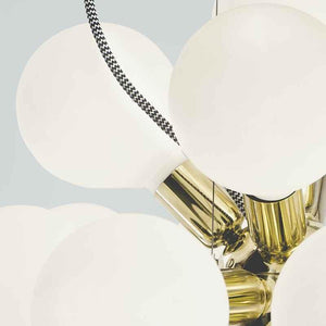 Contemporary Chandelier - Contemporary Brass Chandelier With White Globes 52cm X 52cm X 52cm