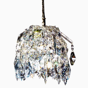 Contemporary Chandelier - Crystal Pendant In Polished Brass