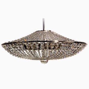 Contemporary Chandelier - Nickel Plated Chandelier With Crystal Chains