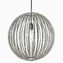 Contemporary Chandelier - Nickel Plated Spherical Chandelier With Stretched Crystal Chains