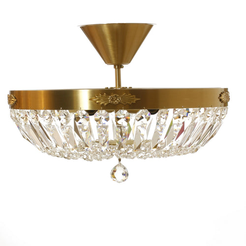 Low Ceiling Plafonds - Low Ceiling Crystal Plafond In Polished Brass