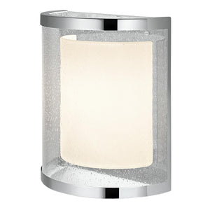 Curved polished chrome wall light with internal shade