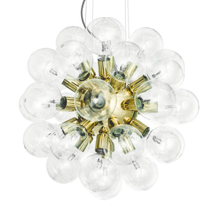 Brass plated contemporary style chandelier with clear bulbs