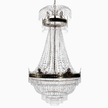 Empire Chandelier - Large Dark Brass Empire Style Chandelier With Crystal Octagons