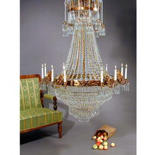 Empire Chandelier - Large Light Brass Colour Empire Style Chandelier With Crystal Octagons And 12 Candle Holders