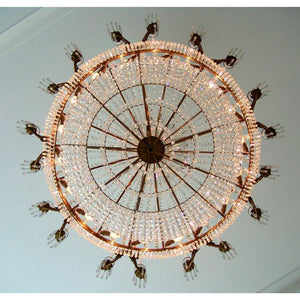Empire Chandelier - Large Light Brass Colour Empire Style Chandelier With Crystal Octagons And 18 Candle Holders