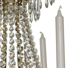 Empire Chandelier - Light Brass Empire Style 6 Arm Chandelier With Crystal Drops