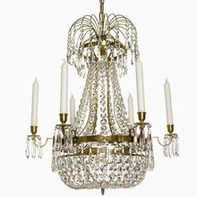 Empire Chandelier - Light Brass Empire Style 6 Arm Chandelier With Crystal Octagons
